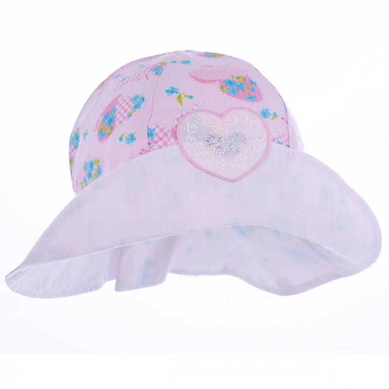 czapka czapeczka kapelusz rondo kwiaty serce lato dziewczynka Pupill