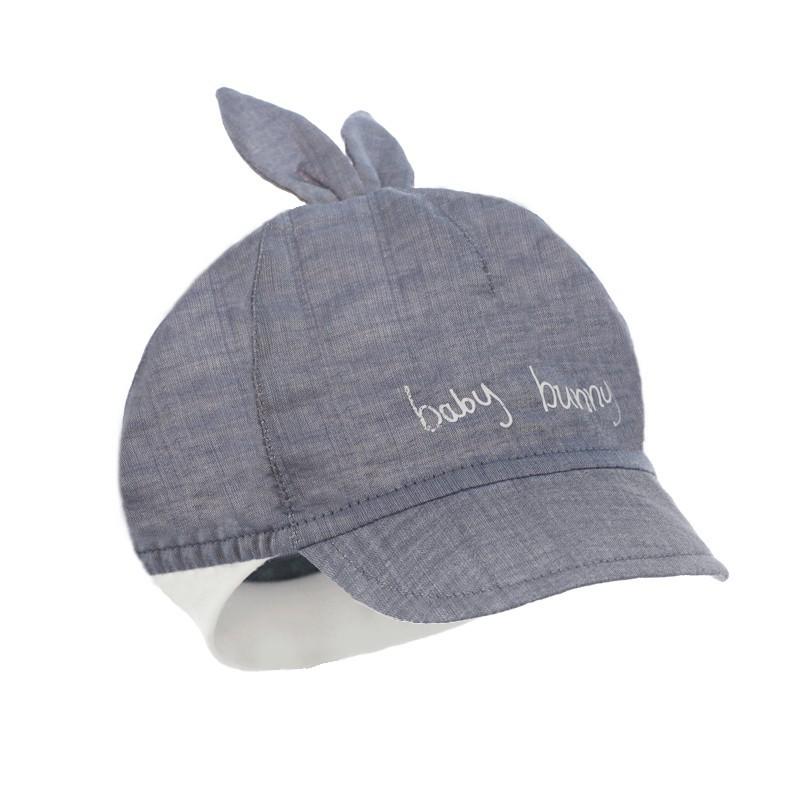 czapka czapeczka dla chłopca na lato Bunny daszek haft uszka pupill