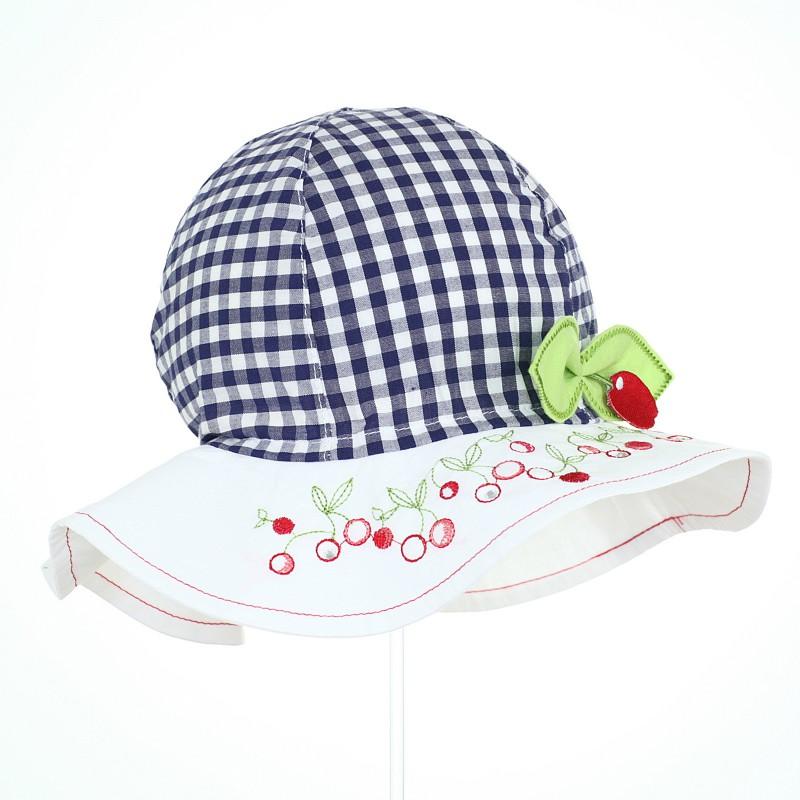 kapelusz czapka czapeczka lato ochrona głowy wiśnie kratka rondo dziewczynka lato pupill