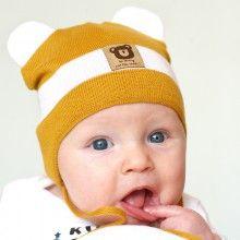czapka czapeczka dla chłopca wiosna jesień naszywka aplikacja miś uszka  wiązanie pupill