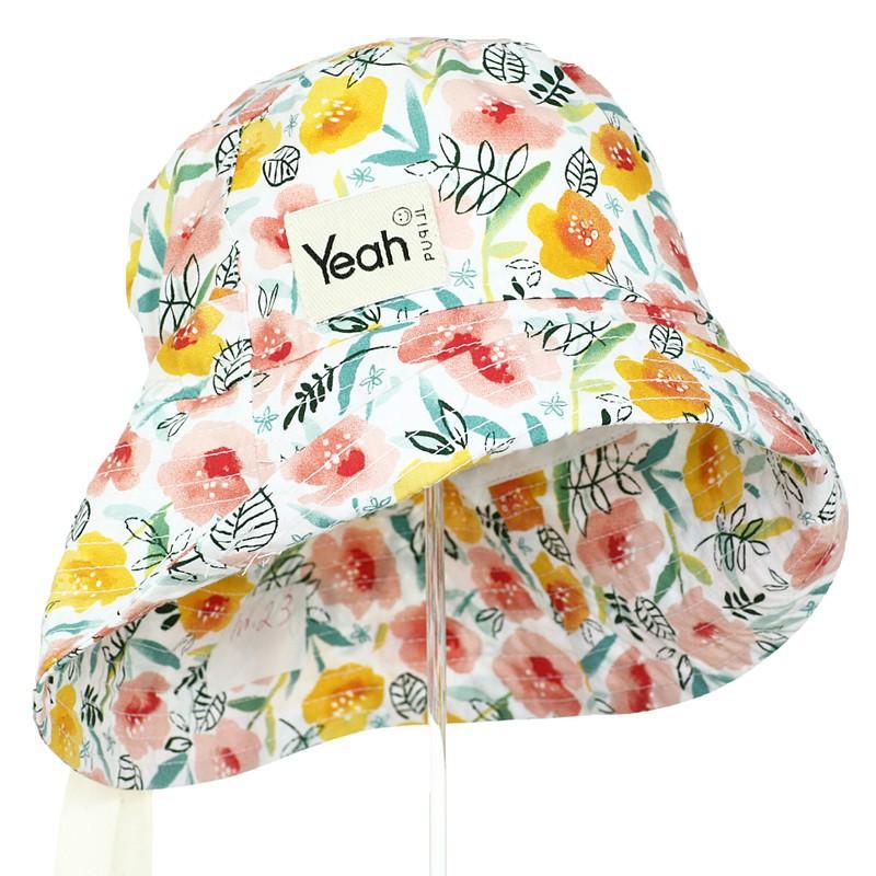 kapelusz bawełna organiczna dziewczynka  kwiaty lato żółty koralowy wyjątkowy