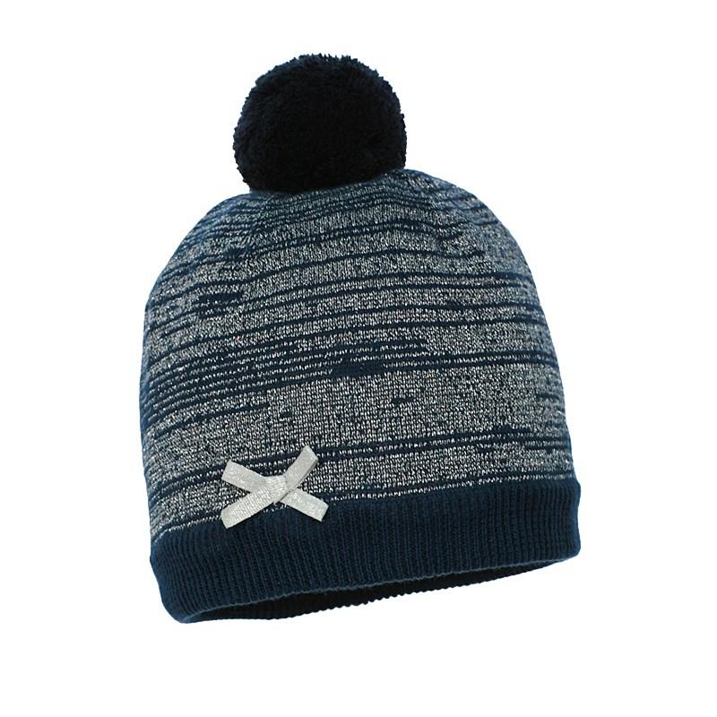 dziana czapka czapeczka z pomponem dla dziewczynki na zimę-pupill