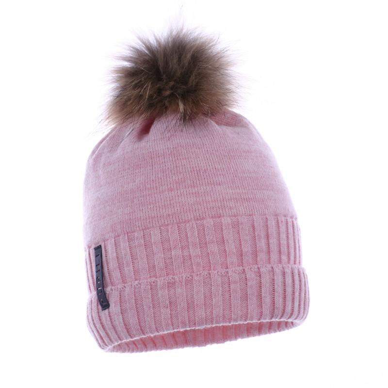 dziana czapka czapeczka z naturalnym pomponem dla dziewczynki na zimę-pupill