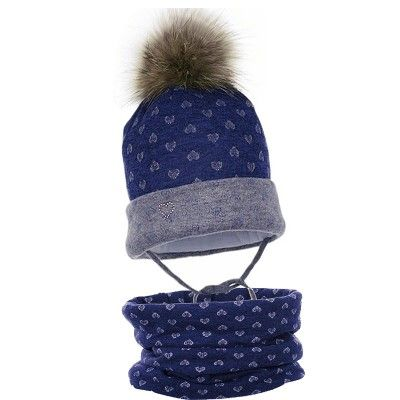 czapka czapeczka pompon naturalny komplet komin dziewczynka zima-pupill
