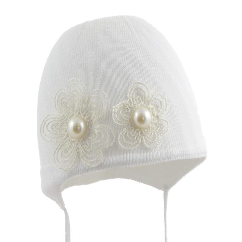 czapka czapeczka dla dziewczynki kwiatki jesień-pupill