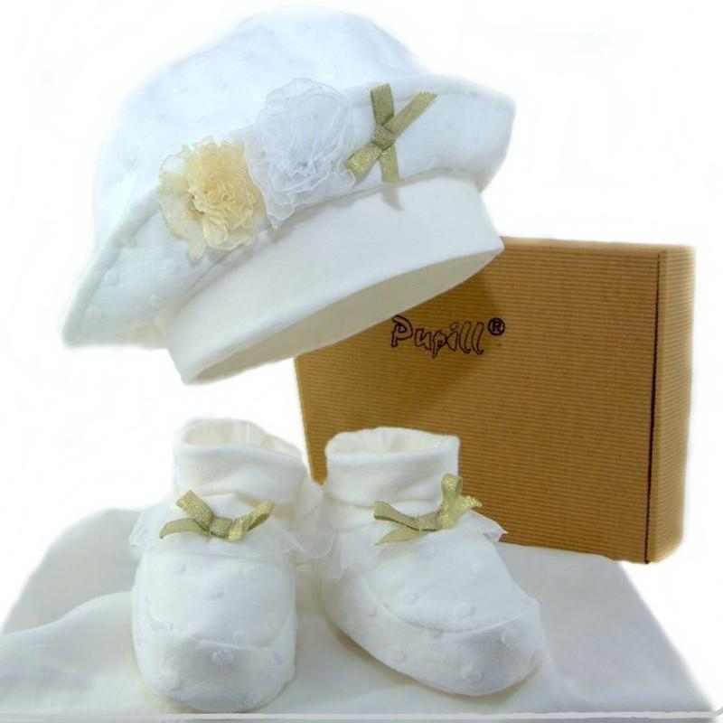 czapka+buciki dla dziewczynki na wiosnę do chrztu-pupill