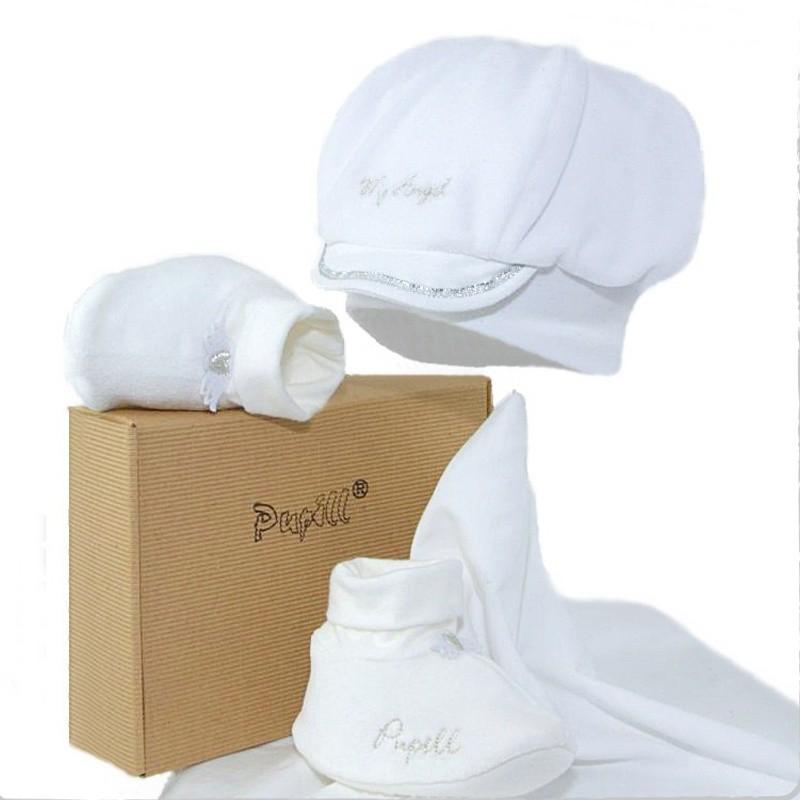 czapka+buciki dla chłopca do chrztu,na wiosnę-pupill