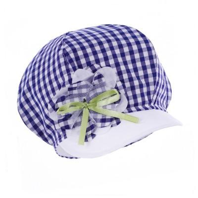 czapka czapeczka kratka kwiat kokardka daszek dziewczynka lato Pupill