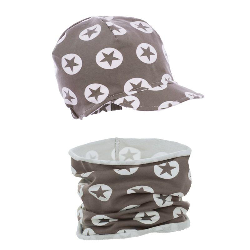 czapka czapeczka z daszkiem kompl z kominemdla dziewczynki lub chłopca na wiosnę-pupill