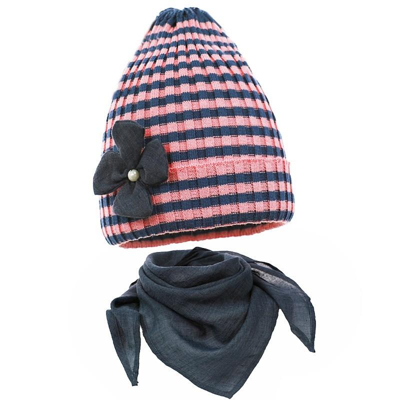 Dziana czapka,czapeczka w komplecie z chustką dla dziewczynki na wiosnę-pupill