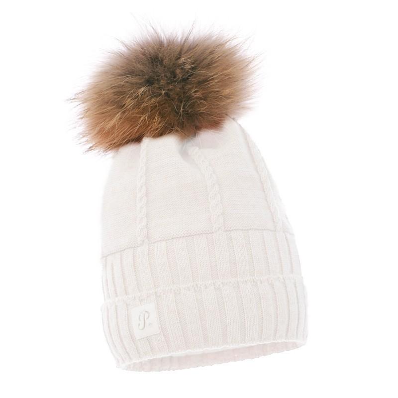 Dziana czapka,czapeczka dla dziewczynki z pomponem z jenota na zimę-Pupill